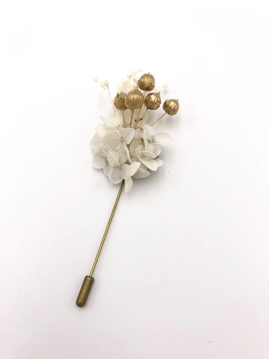 Boutonnière en fleurs séchées Aura - Les Fleurs Dupont