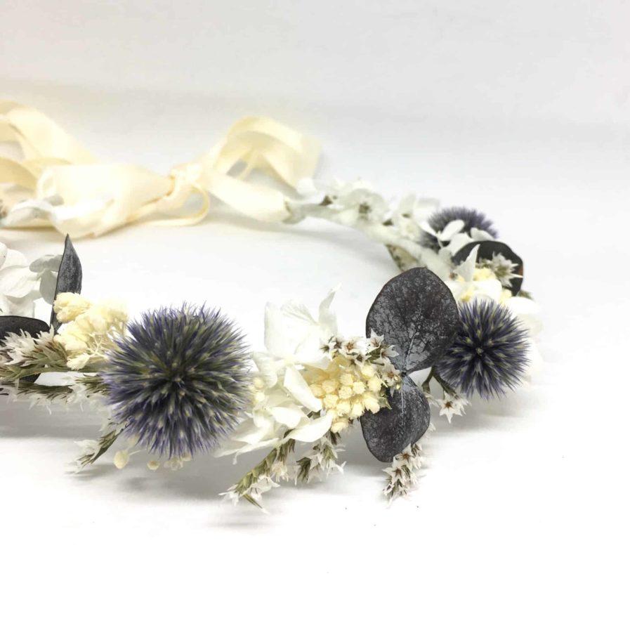 Couronne de mariage Céleste - Couronne de mariage en fleurs séchées et stabilisées - Tons bleus et blancs - Collection 2018