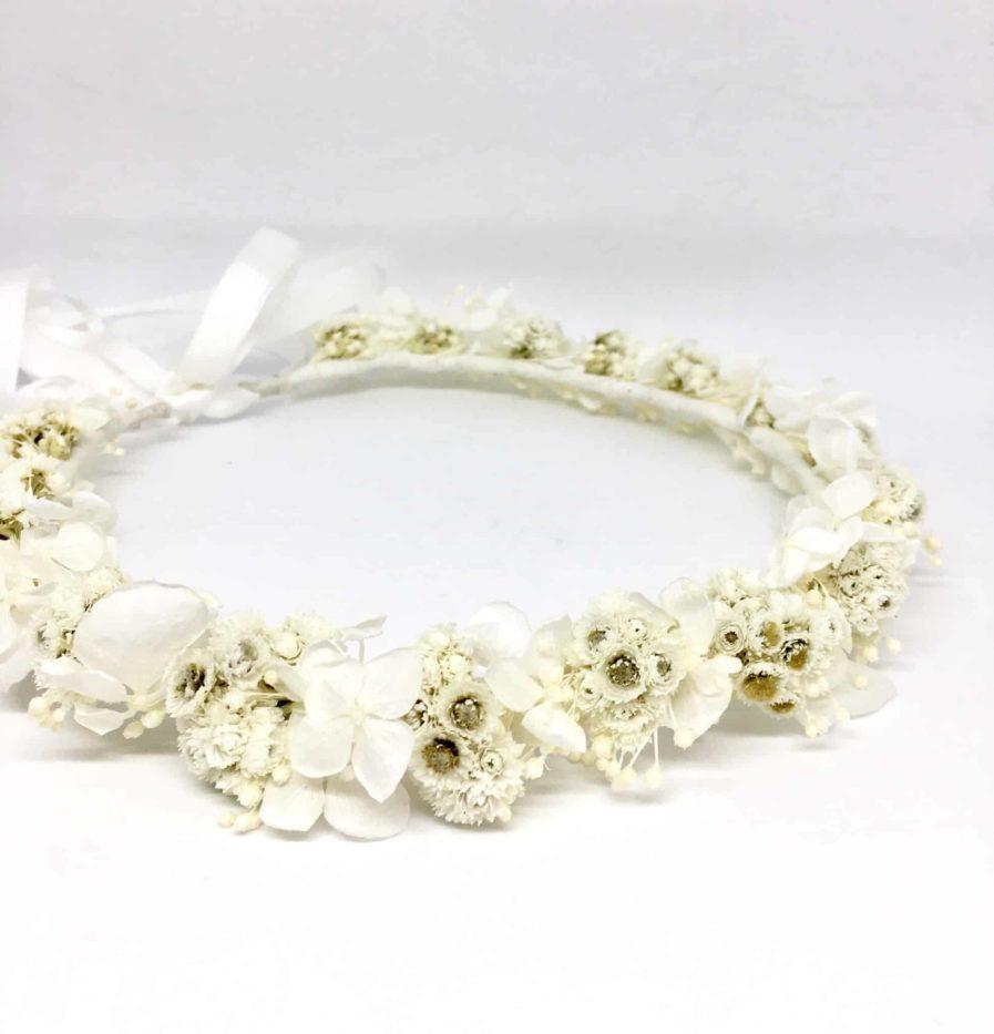 Couronne de mariage Immortelle Collection Immaculée - Couronne de mariage en fleurs séchées et stabilisées - Les Fleurs Dupont