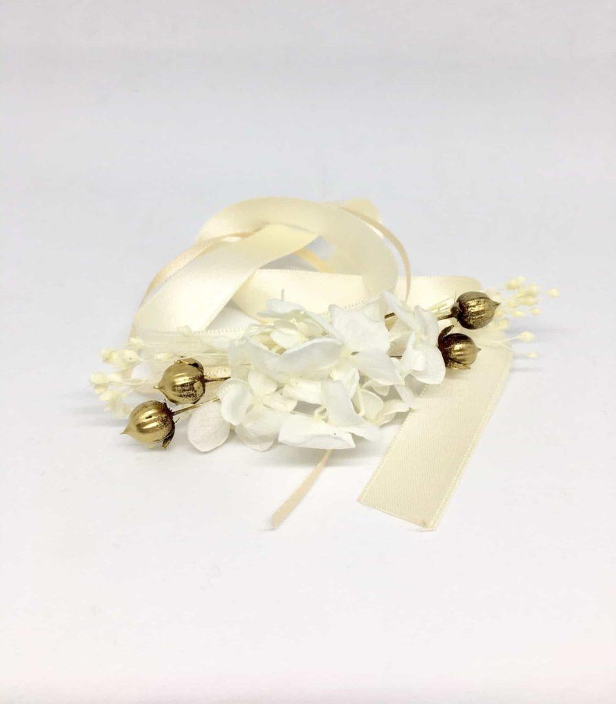 bracelet de demoiselles d'honneur Aura - Accessoire pour demoiselles d'honneur en fleurs séchées et stabilisées - Collection Couture