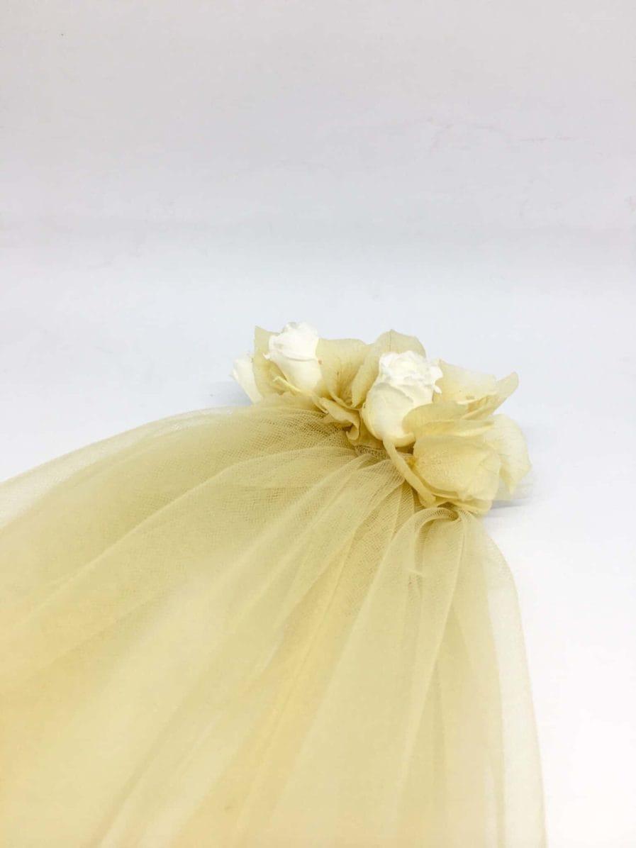 Voile de mariée en fleurs Ella - Couleur Champagne - Voile de mariage fleuri