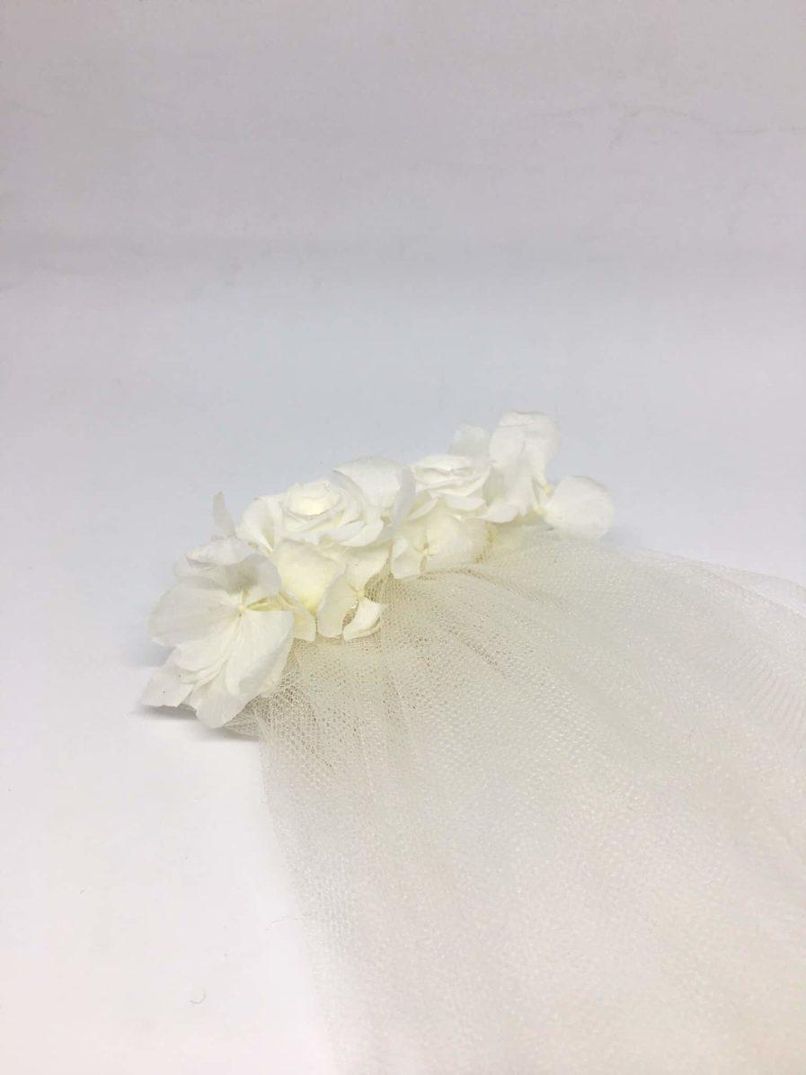 oVoile de mariée fleuri Nina - roses blanches et hortensia. Les Fleurs Dupont L'Amoureuse by Ingrid Fey