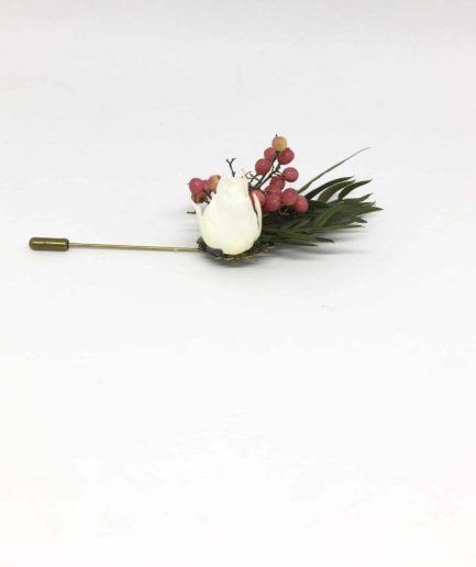 Boutonnière en fleurs Smaragde - Accessoire pour les témoins et le marié