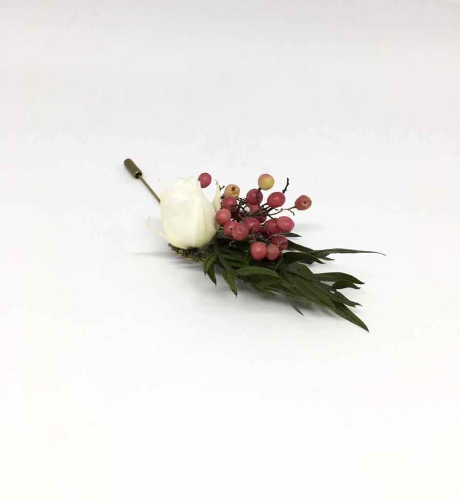 Boutonnière en fleurs Smaragde - Accessoire pour les témoins et le marié - Accessoire idéal en fleurs pour les gentlemen