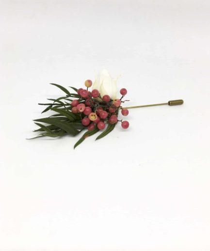 Boutonnière en fleurs Smaragde - Accessoire pour les témoins et le marié - Boutonnière broche en fleurs