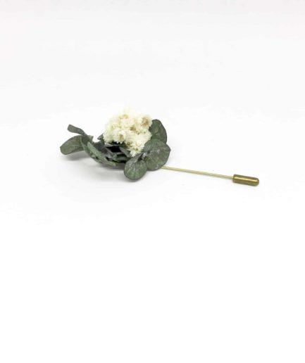 Boutonnière en fleurs Gorgon - Accessoire du marié et des témoins en fleurs - Pic à cravate en fleurs