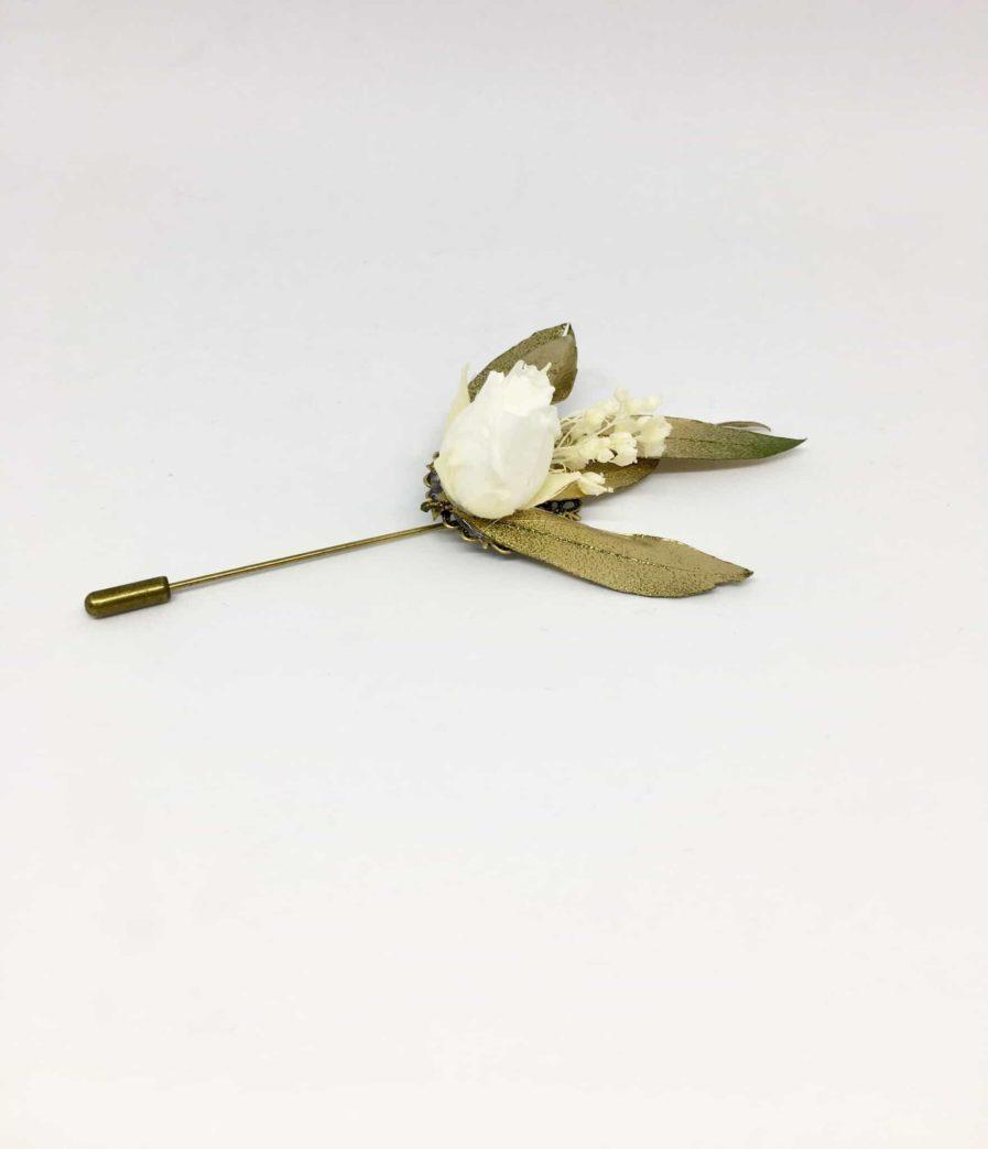 Boutonnière en fleurs Tiburce - accessoire pour les mariés et les témoins - Boutonnière de marié et de témoin