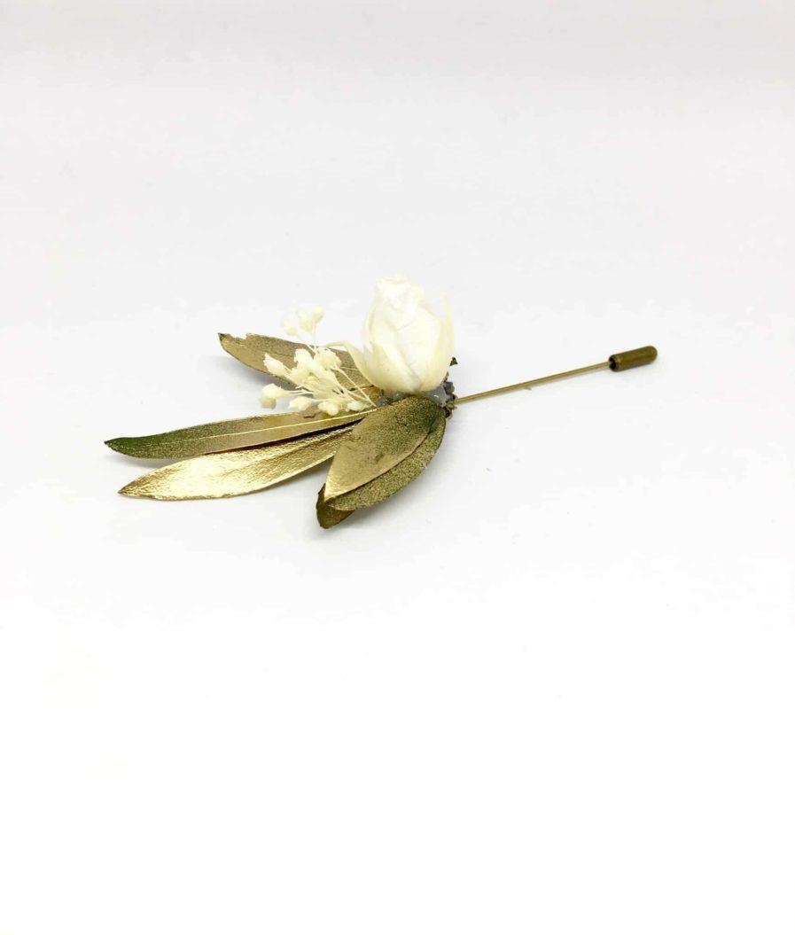 Boutonnières en fleurs - broches - Boutonnière en fleurs Tiburce - accessoire pour les mariés et les témoins