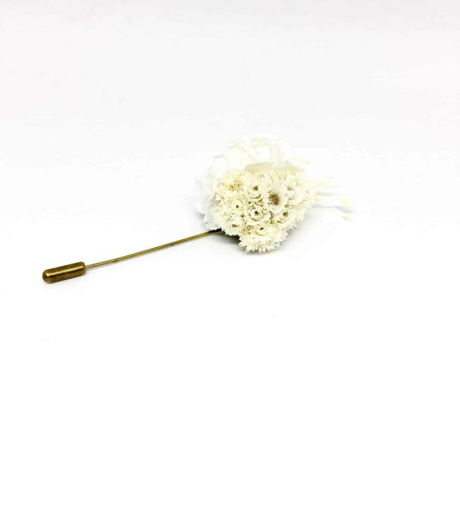 Boutonnière en fleurs Simplice - Accessoire du marié et des témoins - Boutonnière de mariage chic
