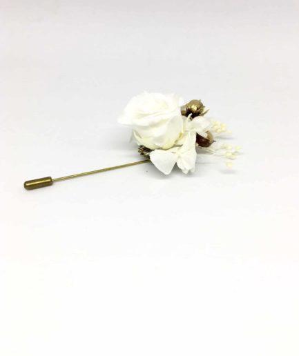 Boutonnière en fleurs Faustin - Pic à cravate pour mariage en fleurs séchées et stabilisées - Accessoire pour les témoins et les mariés