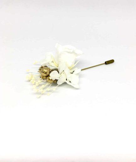 Boutonnière en fleurs Faustin - Pic à cravate pour mariage en fleurs séchées et stabilisées - Accessoire du marié et des témoins