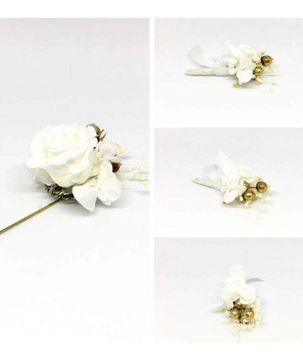 Box marié et témoins en or - Boutonnières en fleurs pour le cortège masculin - Tons blanc et doré