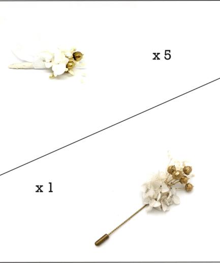 Box marié et témoins Aura - Boutonnières en fleurs stabilisées