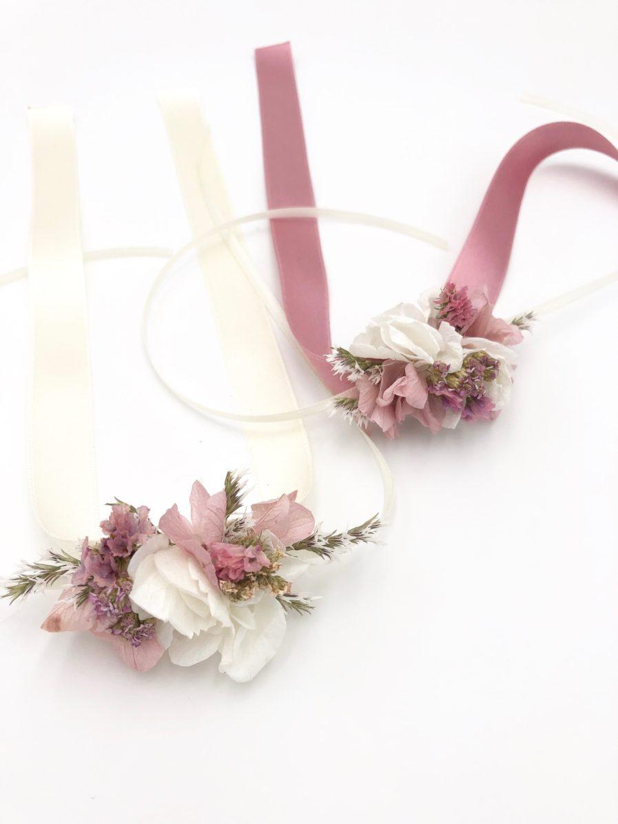 Bracelet en fleurs séchées Lilla - Mariage champêtre romantique