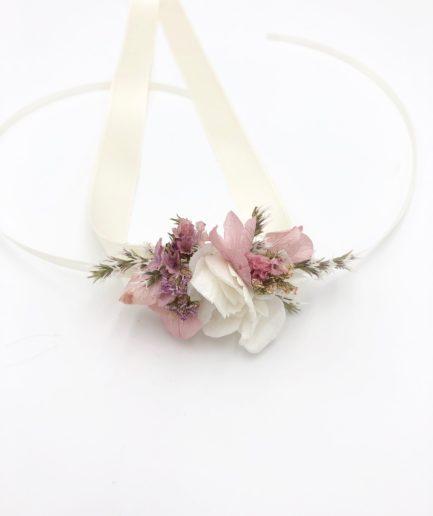 Bracelet en fleurs stabilisées Lilla et fleurs séchées