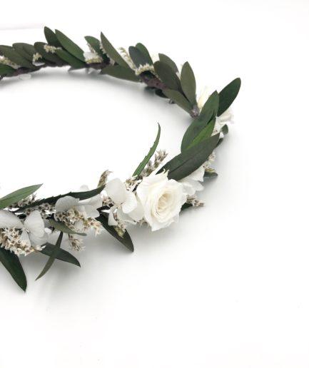 Couronne de fleurs Elaia en feuilles d'olivier stabilisées