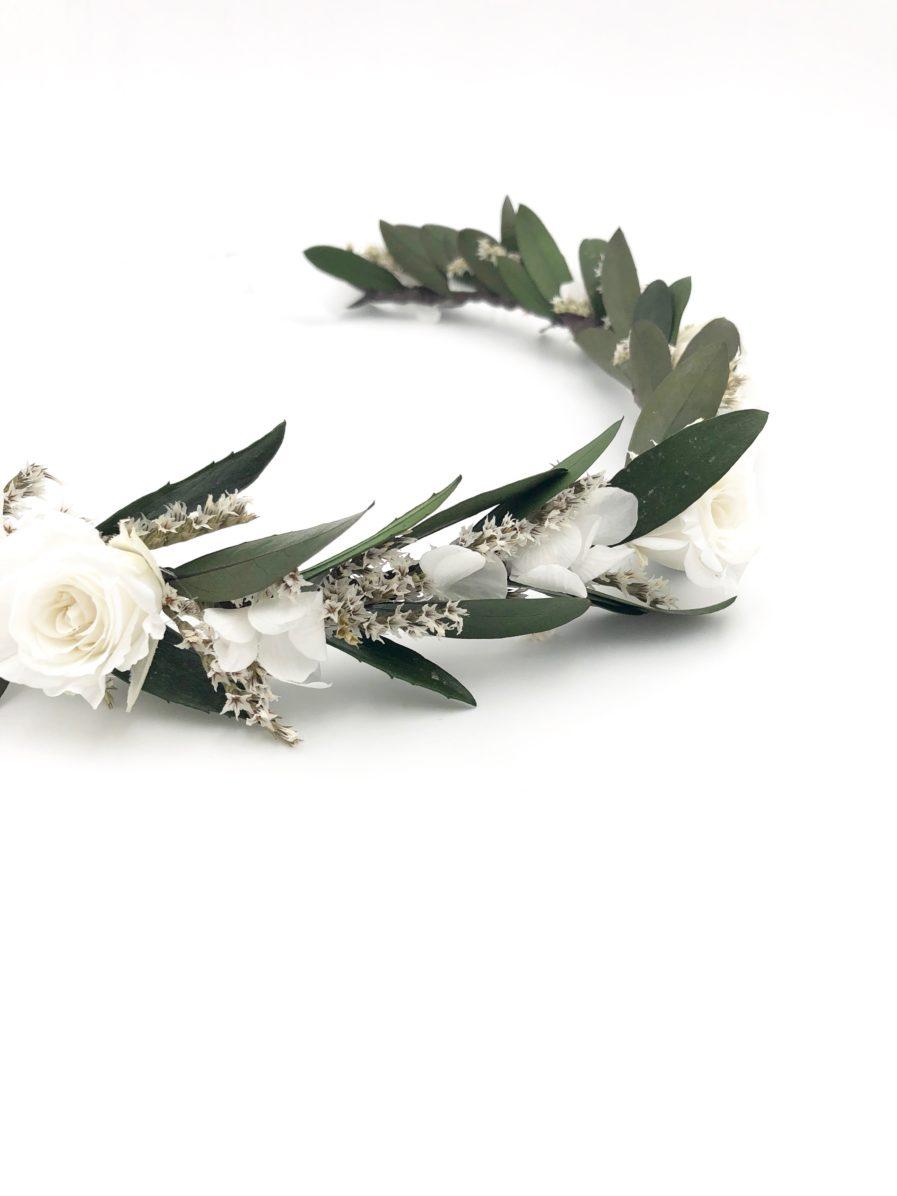 Couronne de fleurs stabilisées Elaia avec feuilles d'olivier