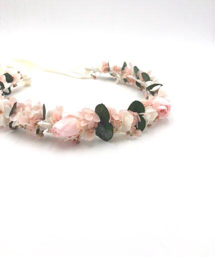 Couronne de fleurs stabilisées roses Confetti