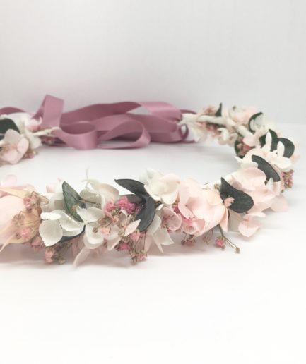 Couronne de mariée Confetti en fleurs stabilisées et séchées