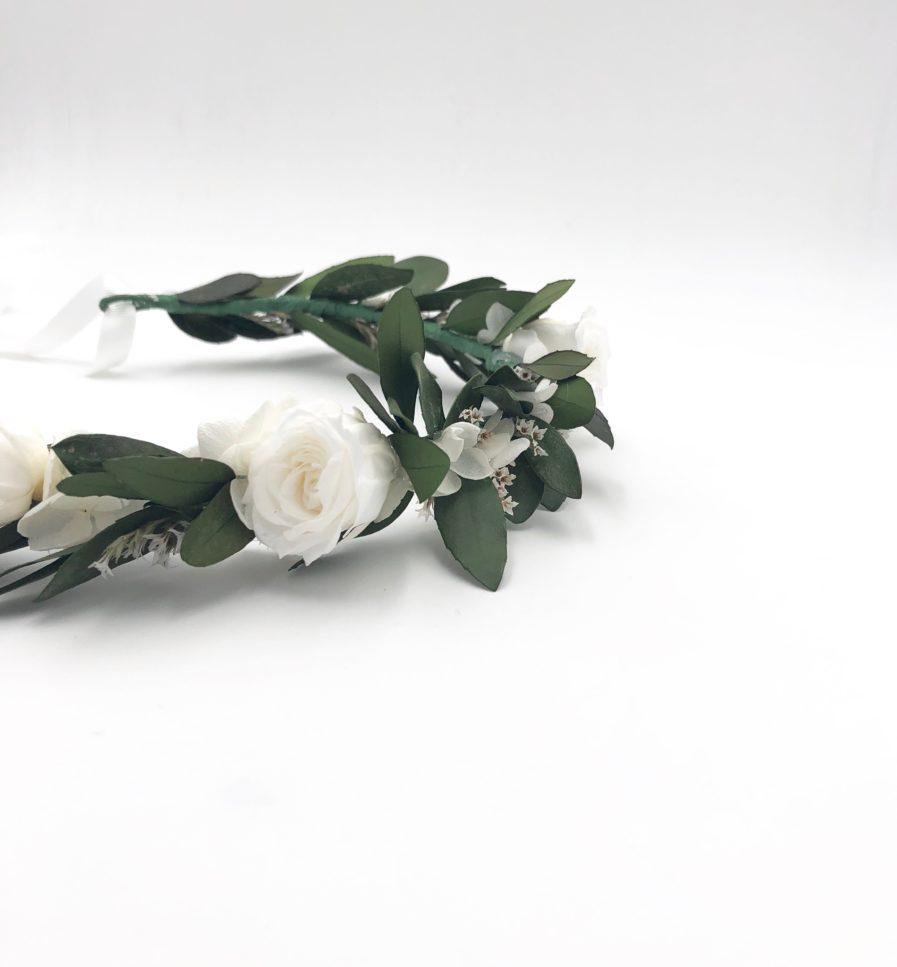Couronne de mariage Elaia en fleurs stabilisées