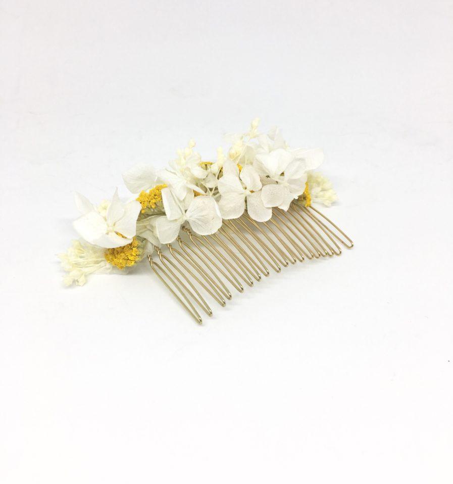 Peigne de mariée Hysope en fleurs naturelles séchées et stabilisées - accessoires de mariage