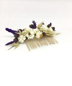 Peigne de mariée Cérès - Accessoire pour mariage champêtre chic en fleurs séchées