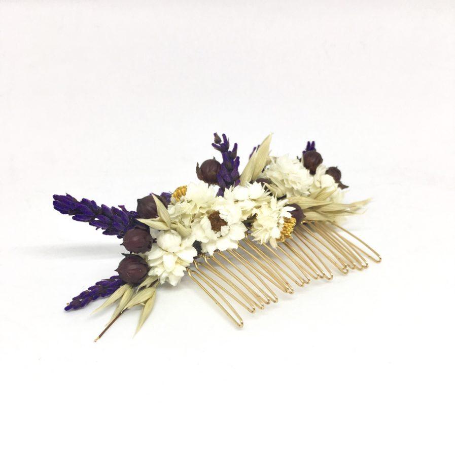 Peigne de mariée Cérès - Accessoire pour mariage champêtre chic en fleurs naturelles séchées et stabilisées