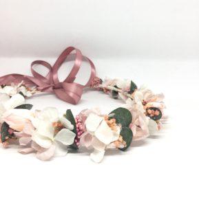 Couronne de fleurs Confetti - Accessoire de mariage de la collection romantique - Les Fleurs Dupont - tons rose pastel et poudré