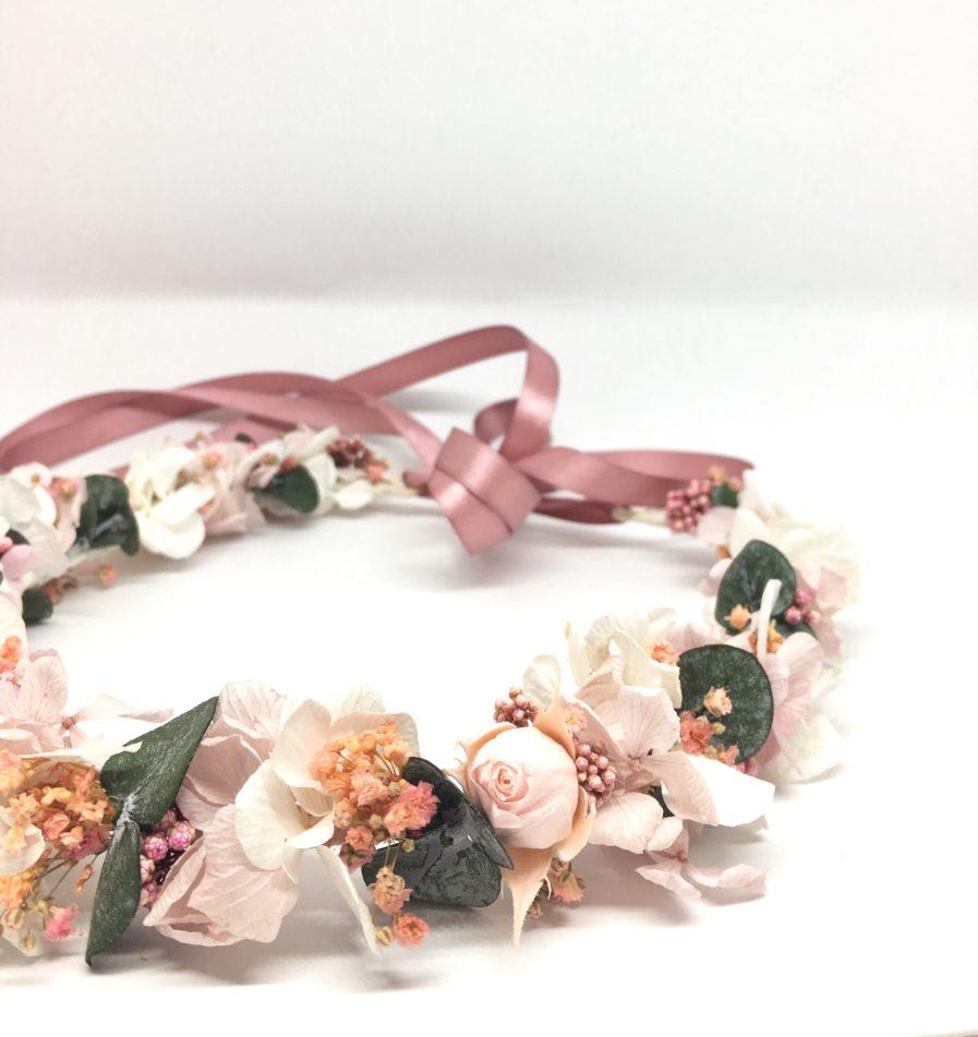 Couronne de fleurs Confetti - Accessoire de mariage de la collection romantique - Les Fleurs Dupont - Tons rose poudré et pastel