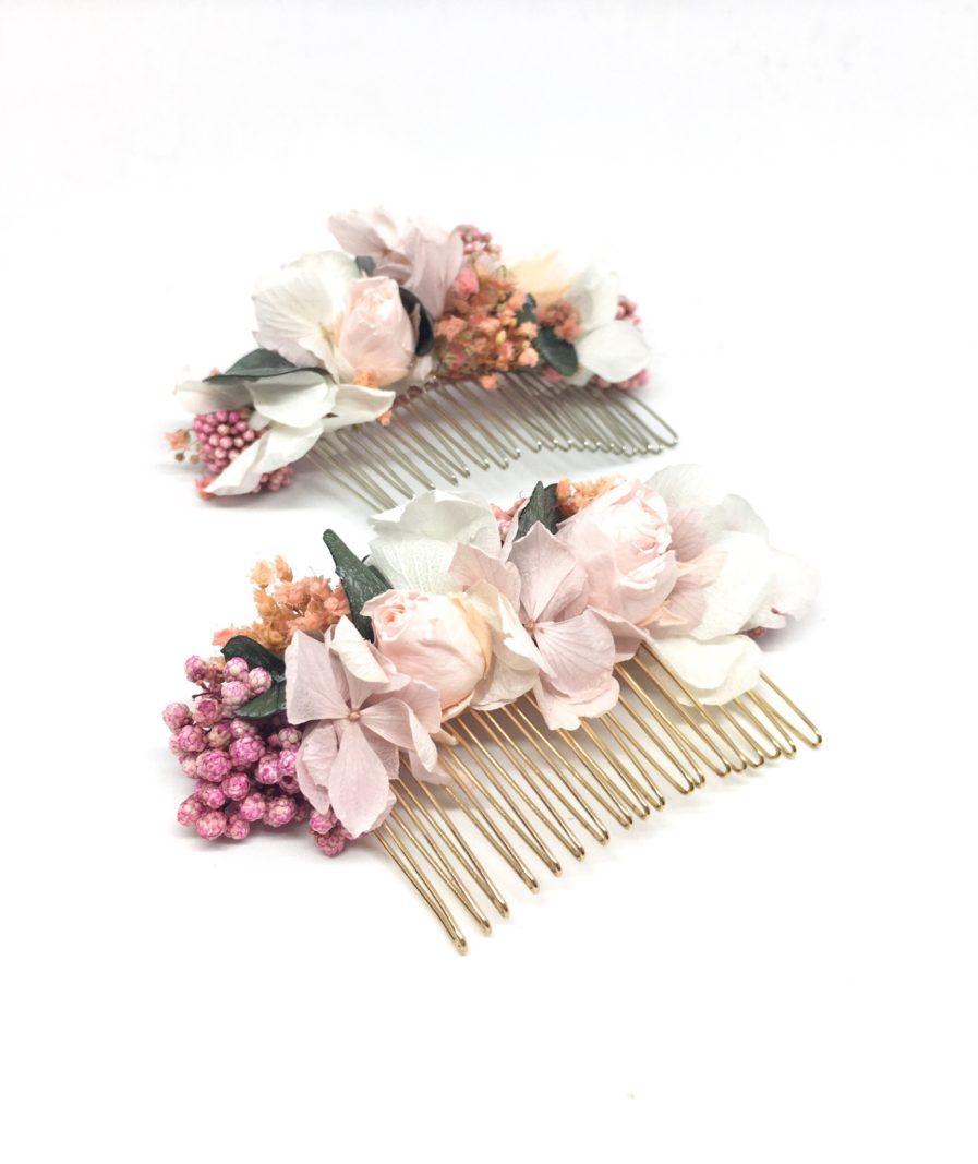 Peigne de mariage Confetti - Accessoire de cheveu en fleurs stabilisées - Chic et romantique - Les Fleurs Dupont