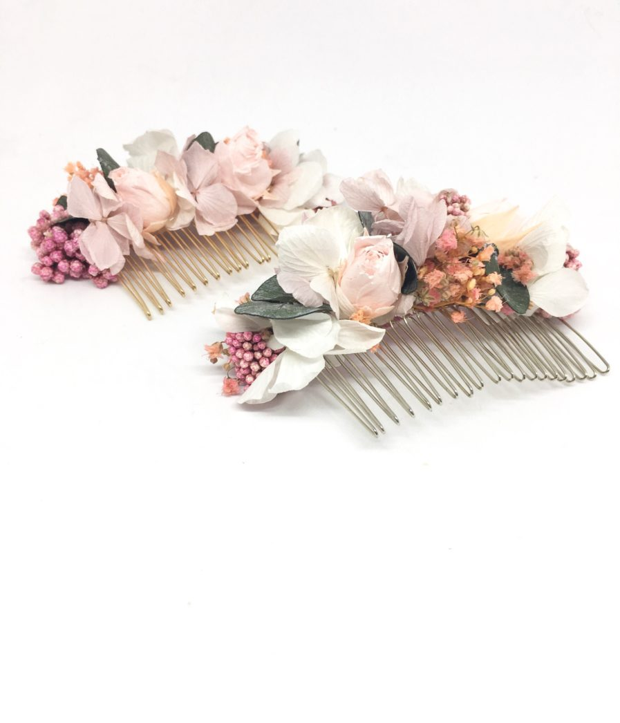 Peigne de mariage Confetti - Accessoire de cheveu en fleurs stabilisées - Chic et romantique