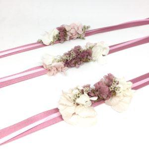 Bracelets de demoiselles d'honneur Lilla - Accessoire en fleurs séchées - Idéal pour le cortège de mariage