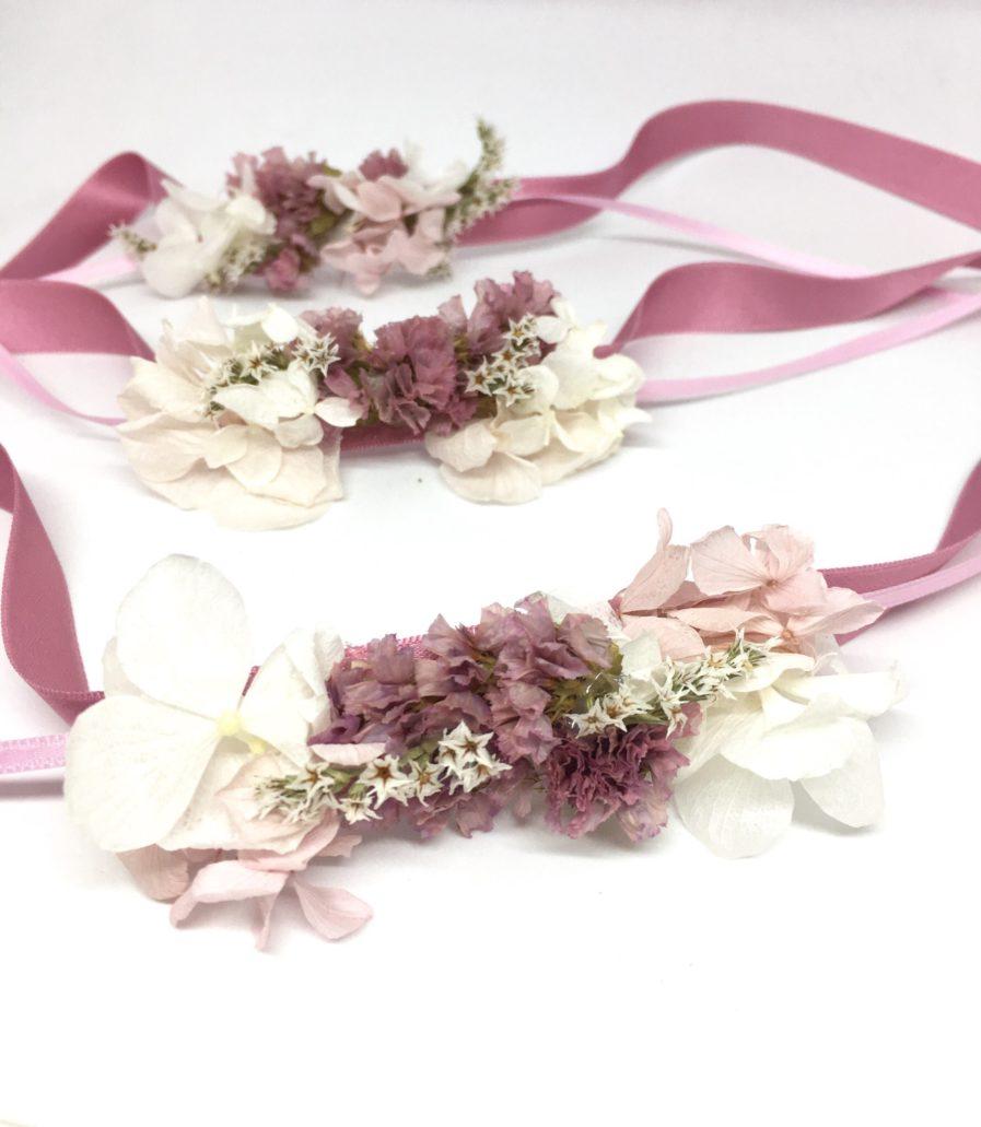 Bracelets de demoiselles d'honneur Lilla - Accessoire en fleurs séchées - Les Fleurs Dupont