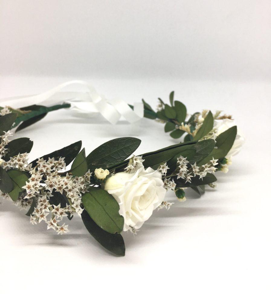 Couronne de fleurs Elaia - Accessoire de mariage en fleurs séchées et stabilisées - Mariage chic et bohème