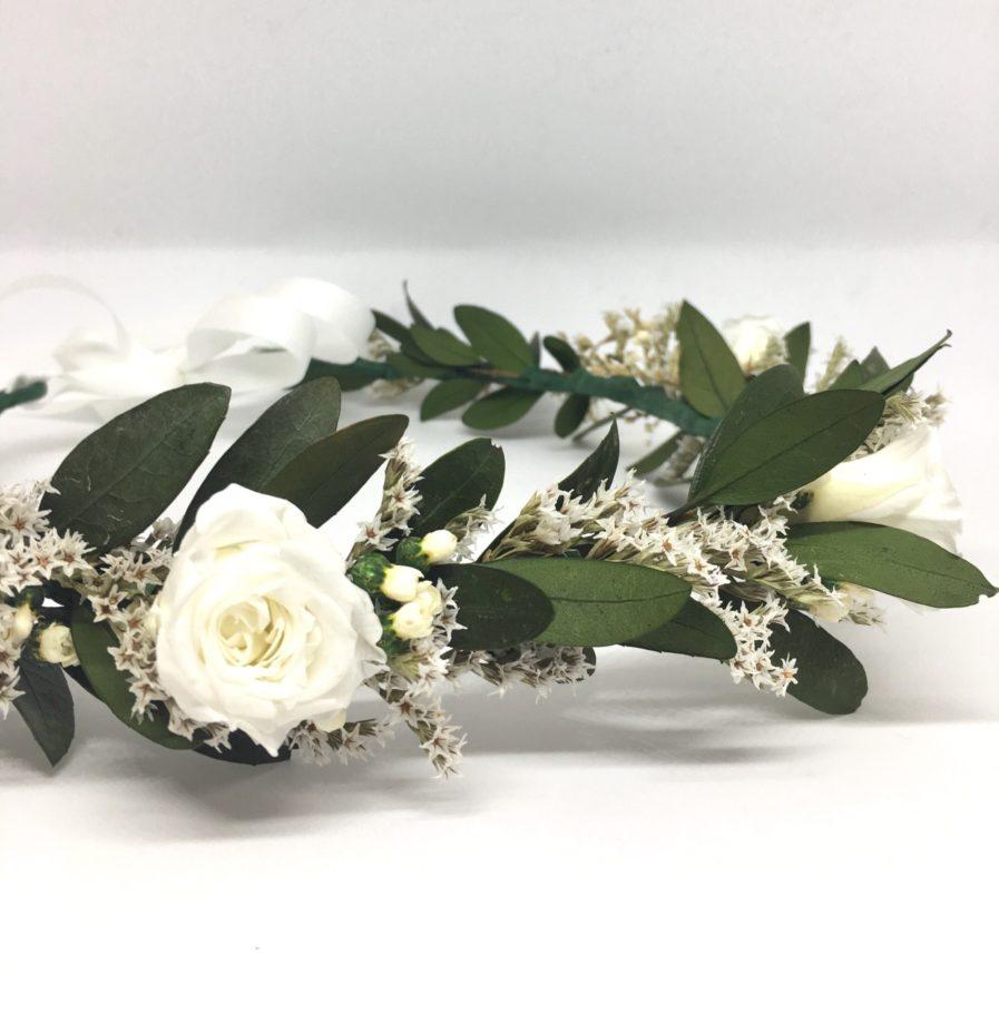 Couronne de fleurs Elaia - Accessoire de mariage en fleurs séchées et stabilisées - Les Fleurs Dupont
