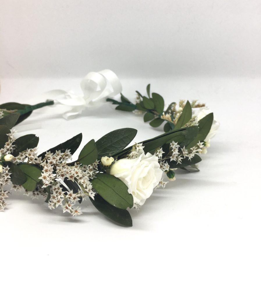 Couronne de fleurs Elaia - Accessoire de mariage en fleurs séchées et stabilisées