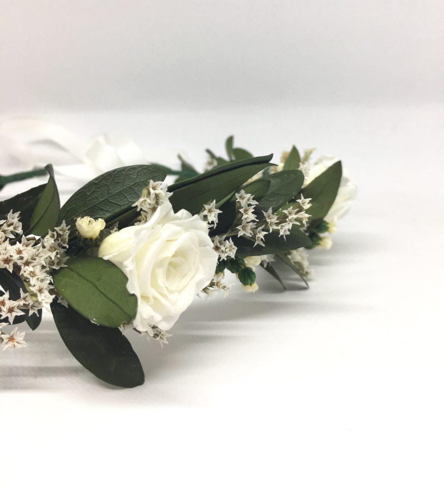 Couronne de fleurs Elaia - Accessoire de mariage en fleurs séchées et stabilisées - Mariage chic et bohème - Les Fleurs Dupont