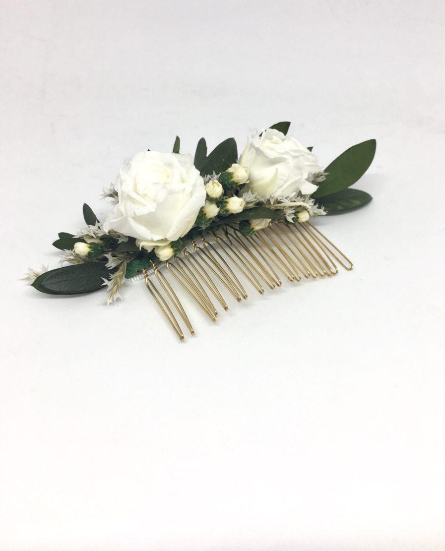 Peigne de fleurs Elaia - Accessoire de la mariée en fleurs séchées et stabilisées