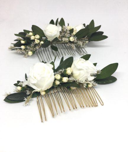 Peigne de fleurs Elaia - Accessoire de la mariée en fleurs séchées et stabilisées - Les Fleurs Dupont