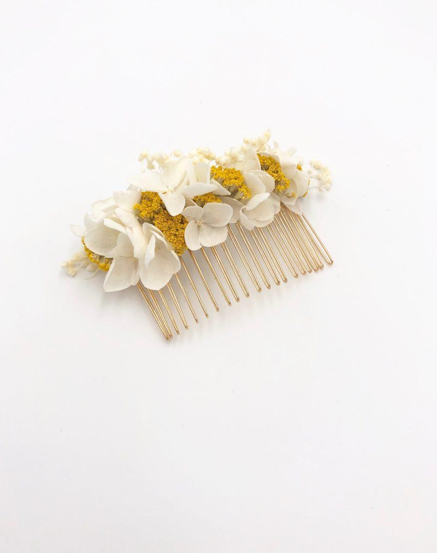Peigne de fleurs mariage Hysope aux tons jaune et moutarde