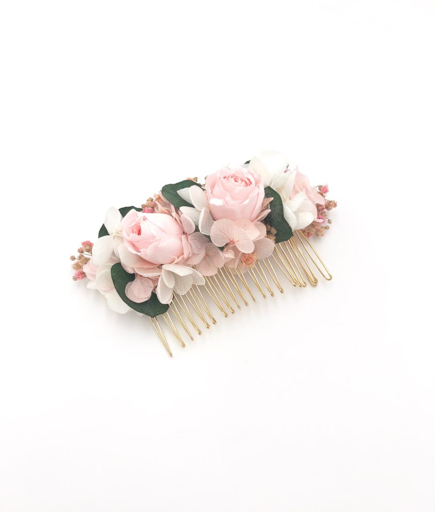 Peigne de fleurs stabilisées Confetti aux tons roses