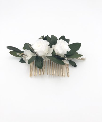 Peigne de fleurs stabilisées Elaia - Olivier et hortensia
