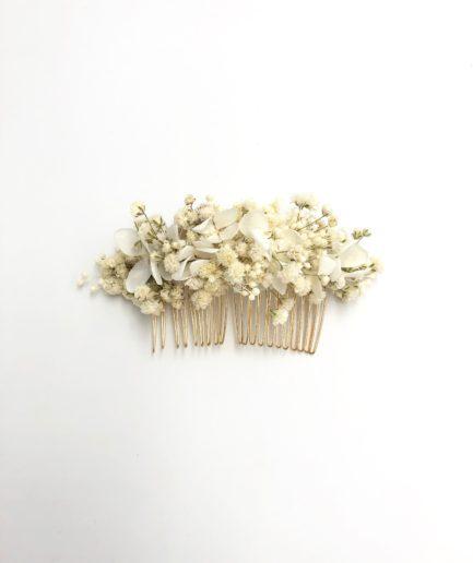 Peigne de fleurs stabilisées Nive - Hortensia et gypsophile