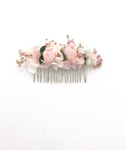 Peigne de mariée Confetti aux tons roses