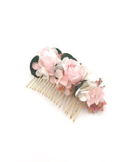 Peigne de mariée Confetti en fleurs stabilisées roses et eucalyptus