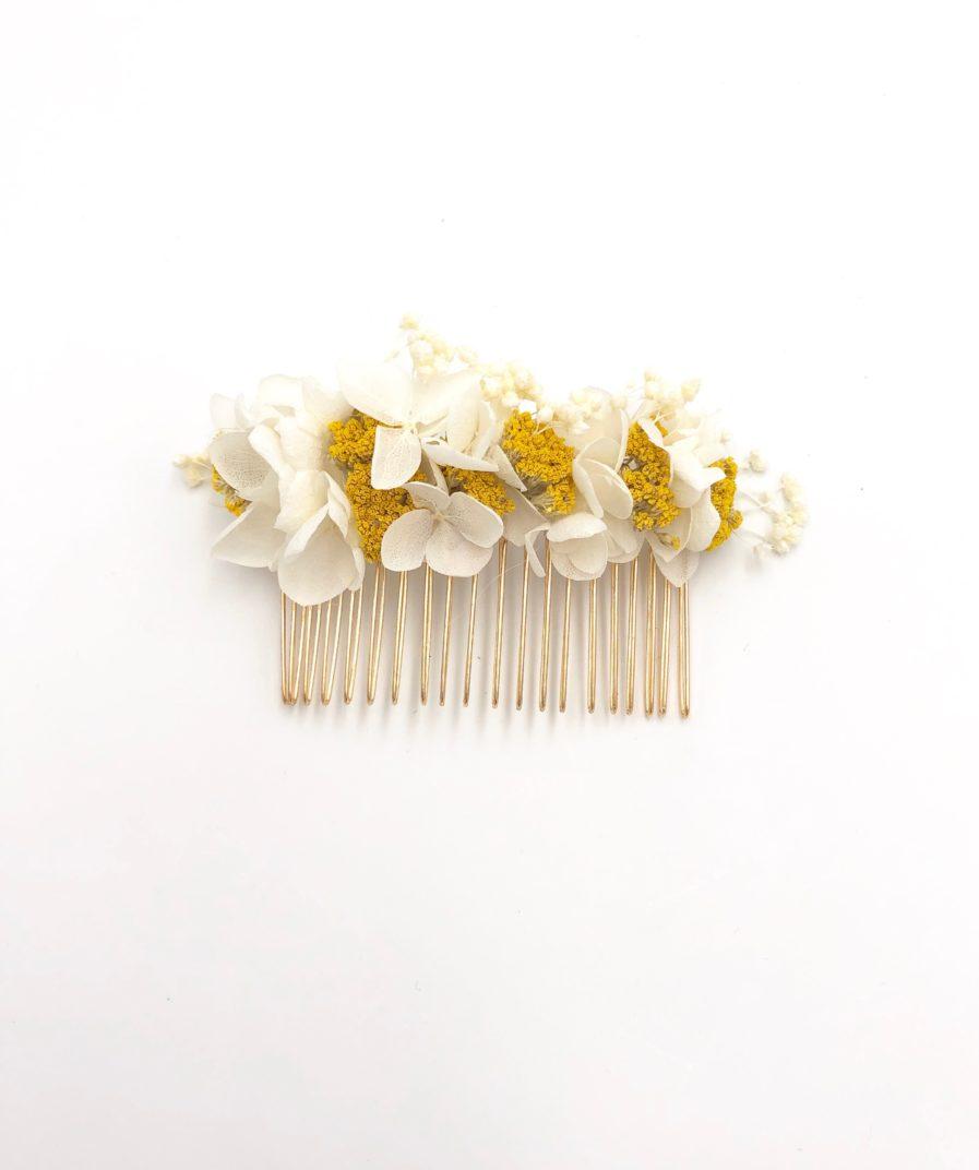 Peigne de mariée Hysope en fleurs séchées françaises