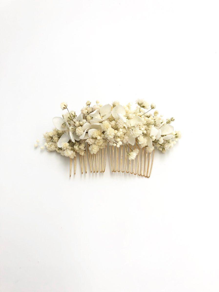Peigne de mariée Nive en fleurs stabilisées blanches