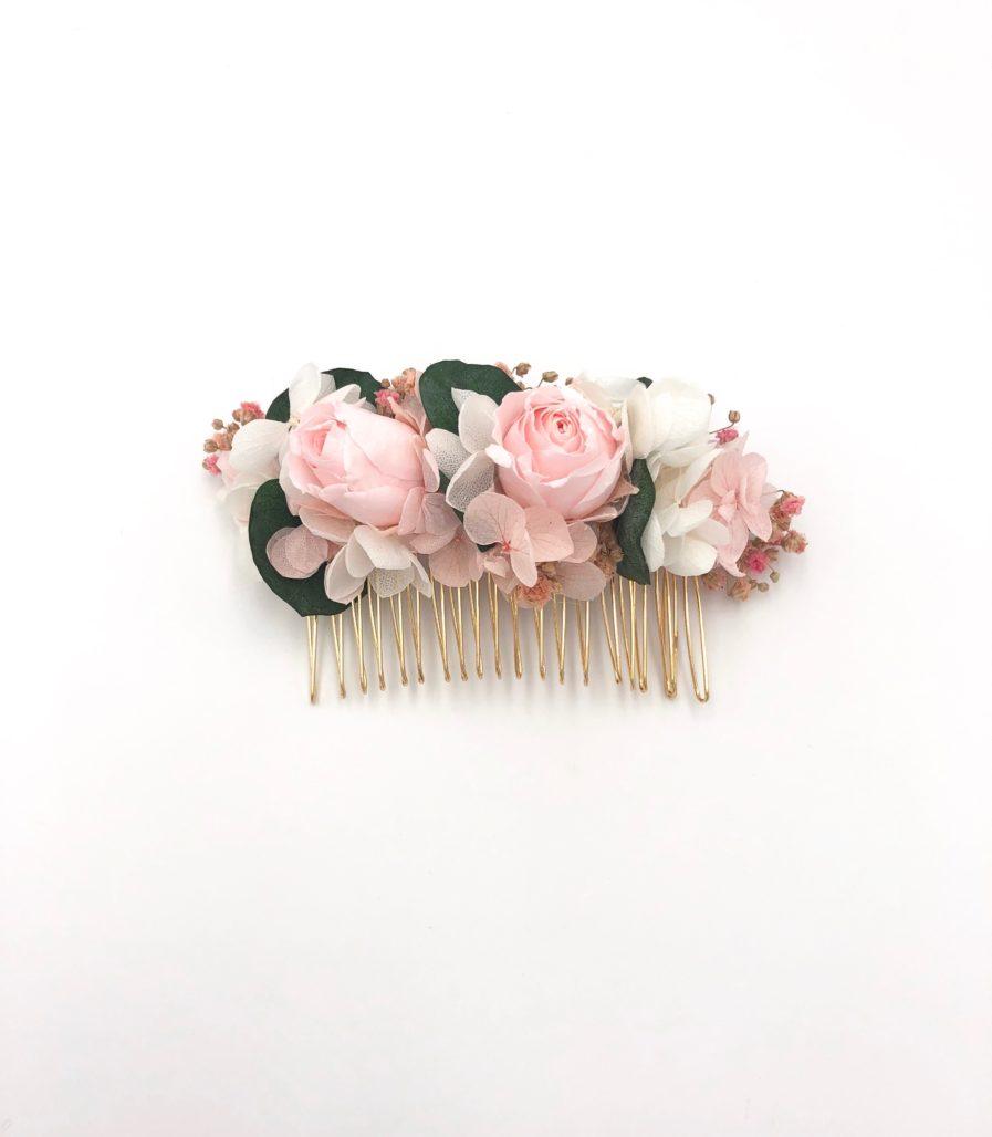 Peigne de mariage Confetti en fleurs stabilisées