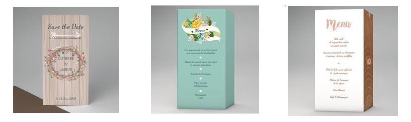 Papeterie et menu pour votre mariage champêtre chic