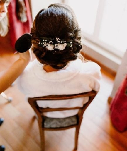 peigne de mariée Elaia en fleurs stabilisées